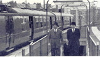 BR Staff Mag photo unknown photographer of Dr Beeching at Hyndland in the Glasgow suburbs in 1963 during a tour of Scotland.