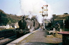 Ex-GWR 2-6-0 7307 passing Neath Riverside,about 1959.