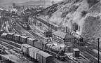 Landscape view of Tunnel Junction Worcester by B. Ashworth in 1963 . 6901 Arley Hall in the foreground, 6995 Benthall Hall behind also 1661 shunting .