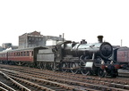 Ex-GWR 43xx class 2-6-0 No 6364 brings empty coaching stock into Birmingham Snow Hill station on 28th April 1964.