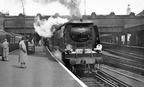 London Victoria   West Country 34101 'Hartland' Victoria to Folkestone Harbour train.. April 1954