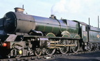 The magnificence and splendour of Ex GWR 'King' Class 4-6-0 No.6011 'King James I' seen here on shed at Old Oak Common. 1962