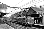 1500v d.c.'s Class EM1 26048 and EM2 27004 double-head a train at Sheffield Victoria 1950's...