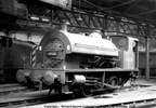 0-4-0ST 47000 inside Derby roundhouse in the 1960s. Photo is part of the Richard Gennis collection.