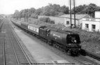 Unrebuilt Merchant Navy 4-6-2 35028  Clan Line   on the   Golden Arrow  express at Petts Wood in the 1950s.