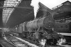 90308 beautifully portrayed at Huddersfield circa 1950. 90308's WD number was 77444 and it was one of the Southern's contingent transferred to Huddersfield from Feltham in June 1950 whilst its BR number was acquired in January 1951