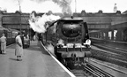 London Victoria   West Country 34101 'Hartland' Victoria to Folkestone Harbour train in April 1954