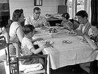 A Family in a Camping Coach at Cheddar station 1950's