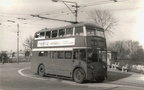 A Manchester Corp Crossley trolleybus reg.JVU713 No.1208, waits at the Gee Cross terminus before setting off back to Piccadilly on the 210 service. c.1960.