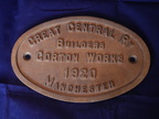 GREAT CENTRAL RAILWAY GORTON WORKS MANCHESTER 1920 WORKS PLATE BUILDERS PLATE