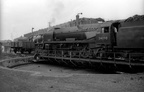Bournemouth shed in the mid 1960s with rebuilt West Country 34098  Templecombe  on the turntable.