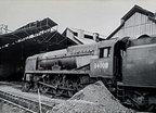 West Country no. 34008  Padstow  standing outside the main shed building. I next saw this locomotive on 3rd March 1968 Nine Elms