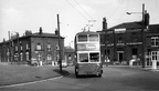Ashton trolleybus at Chester Sq roundabout,junction of Margaret St-Stockport Rd in background 1960s