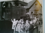 This is the delph donkey in delph station coaling up for the last time, before it'slast trip to Oldham. 1955.
