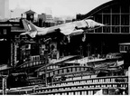 Harrier flying over St Pancras Station 1969