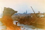The old London and North-Western Railway viaduct passing over the River Tame on the Dukinfield-Ashton boundary and Riverside-Corra Street, Dukinfield during demolition in 1972
