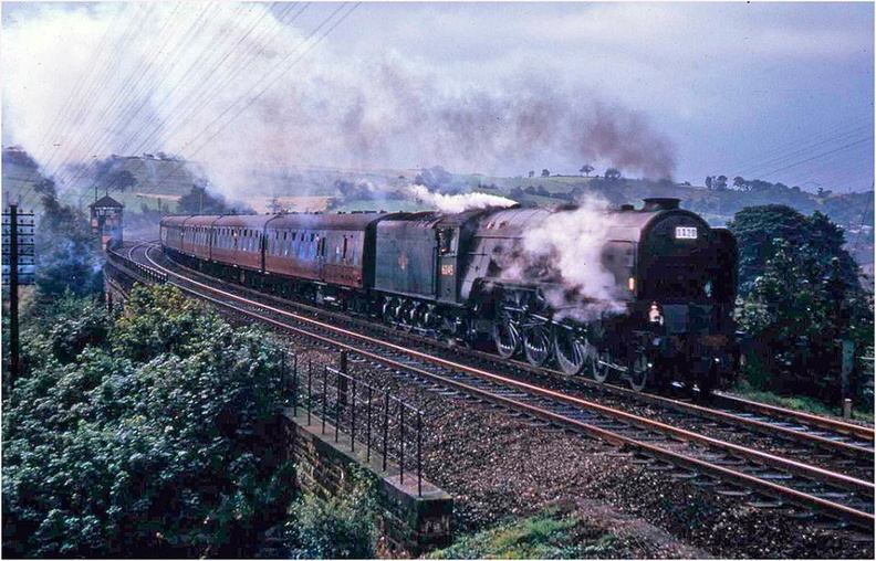 60145 St.Mungo  returning  north at Unstone viaduct 1965.jpg