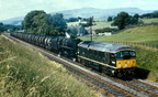The Heysham - Leeds oil tanks, possibly about 1967 when the oil tank train was frequently doubleheaded with a Carnforth 9F and a Type 2, in this case D5098. Possibly the Wennington area