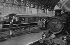 British Railway's gas turbine locomotive no. 18100 rests at Paddington station in February 1952 after a trial run.