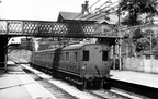 A Manchester-Glossop 'push-pull' service at Mottram & Broadbottom with 67421 in charge.1954