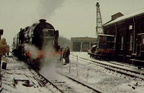 6115 SCOTS GUARDSMAN giving brake van rides at Dinting Railway Centre on a very gloomy New Years Day 1979 1