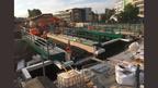 Bridge decks in place preparing for waterproofing.