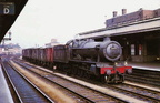 4-6-0 No 4908 'Broome Hall' passes through Leamington at the head of a down freight on 29th May 1963.