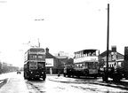 A 219 trolley bus at Stockport Rd-Trafalgar Sq,1960s,and one of its predecessors,an old tram on its way to Crich tramway museum..West Park high rise flats can be seen in the distance above the rooftops