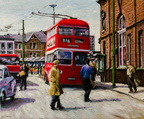 2018 - Stalybridge trolley bus at Ashton-under-Lyne market 1962 - oil on canvas - 60x50cm