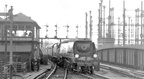 London St Pancras station, arrival of Manchester Central express during the exchange trials, 17 June 1948