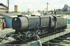 Ex-S.R. Class Q1 0-6-0 No.33003 on the turntable at Tonbridge . . .1960's.