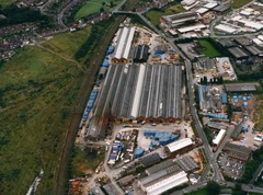 The works from the air in the 1990s Dewsnap bridge at top of photo  Dewsnap sidings on the left