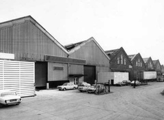Dukinfield Wagon Works in the 1970s West end showing wagon lifting shop