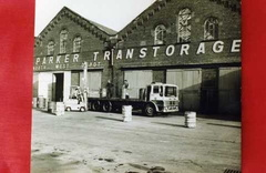 The West end of the works Carriage shop in the 1970s with me on the fork truck
