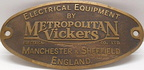 Metro Vickers  Makers Plate