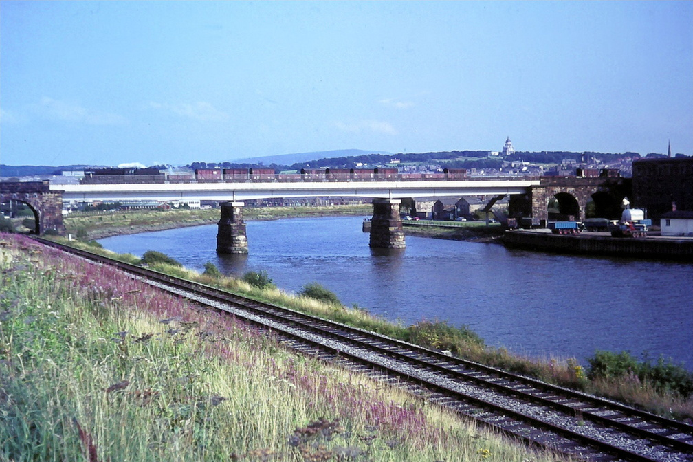 8f Crossing Lune River  with the Green Ayre to Morecambe Line in the foreground
