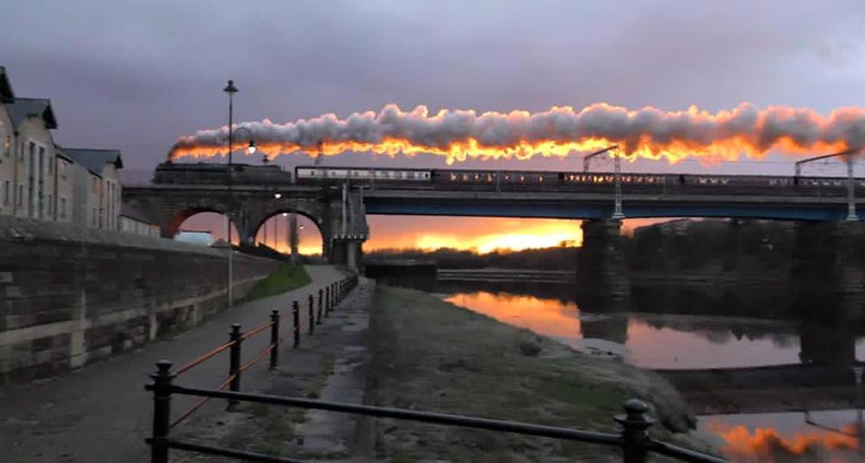 019-The Royal Scot steam train powering over Carlisle bridge Saturday evening