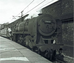 041-No. 70035 'Rudyard Kipling' has just arrived at Crewe station in March 1967