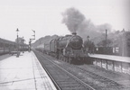 Chesterfield Midland station after a signal check to the north is Class 5 No. 44828 on a Derby express in the mid 1950
