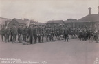 on the anniversary of 100 years since the Battle Of The Somme 1916-1918 here have soldiers off to war at chesterfield midland station ,1914