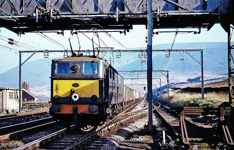 Torside Woodhead Route.. Class 76 (EM1) 26000 'Tommy' westbound coal train November 1963.