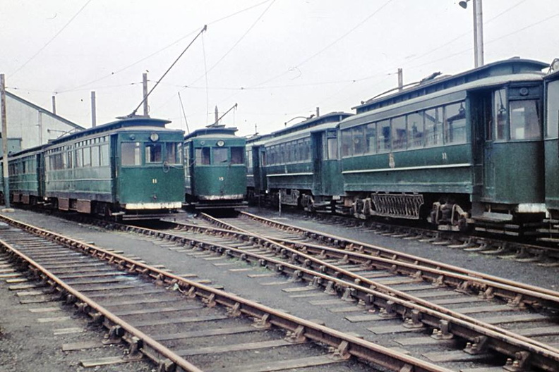 Former GCR tram nos 11, 15 and Gateshead car no. 33 at Pyewipe depot on the Grimsby & Immingham Light Railway  the first week of September 1960.