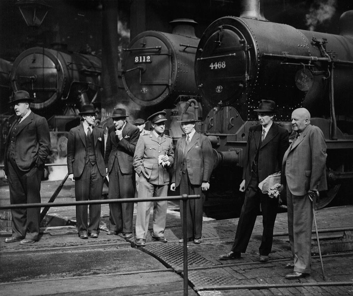 Toton Shed in 1943, during a wartime visit by the South African High Commissioner Col. Denys Reitz (right) to the Motive Power Depot