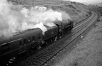 Britannia 70045 (formerly  Lord Rowallan  with a southbound express on Beattock bank on July 30, 1966.