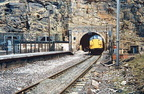 Class 37 37024 emerges from Woodhead tunnel for the last time on Sunday 4 May 1986 after track recovery had reached the tunnel entrance