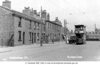 Tram at Audenshaw. Pub beside the lorry and tram is The Boundary - 1920's