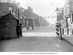 DUKINFIELD - The Toll Bar, Alma Bridge, looking up King Street, decorated for the Coronation of Edward VII.