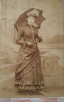 DUKINFIELD MADE CDV PHOTOGRAPH BY JENKI SON OF 17 KING STREET. PRETTY LADY IN A LONG DRESS AND CARRYING VINTAGE PARASOL