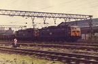 Class 76's No 76010 and 76016 arrive at Dewsnap Sidings, Dukinfield with a transfer freight from Wath Yard in July 1979.