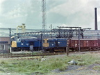 Dewsnap Sidings at Dukinfield hadn't got long to go in July 1978. Class 40 No 40033 Empress Of England has brought a van train in and Class 08 No 08477 has taken over
